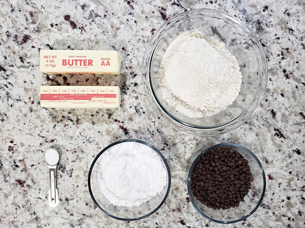 Ingredients to make chocolate chip shortbread cookies.