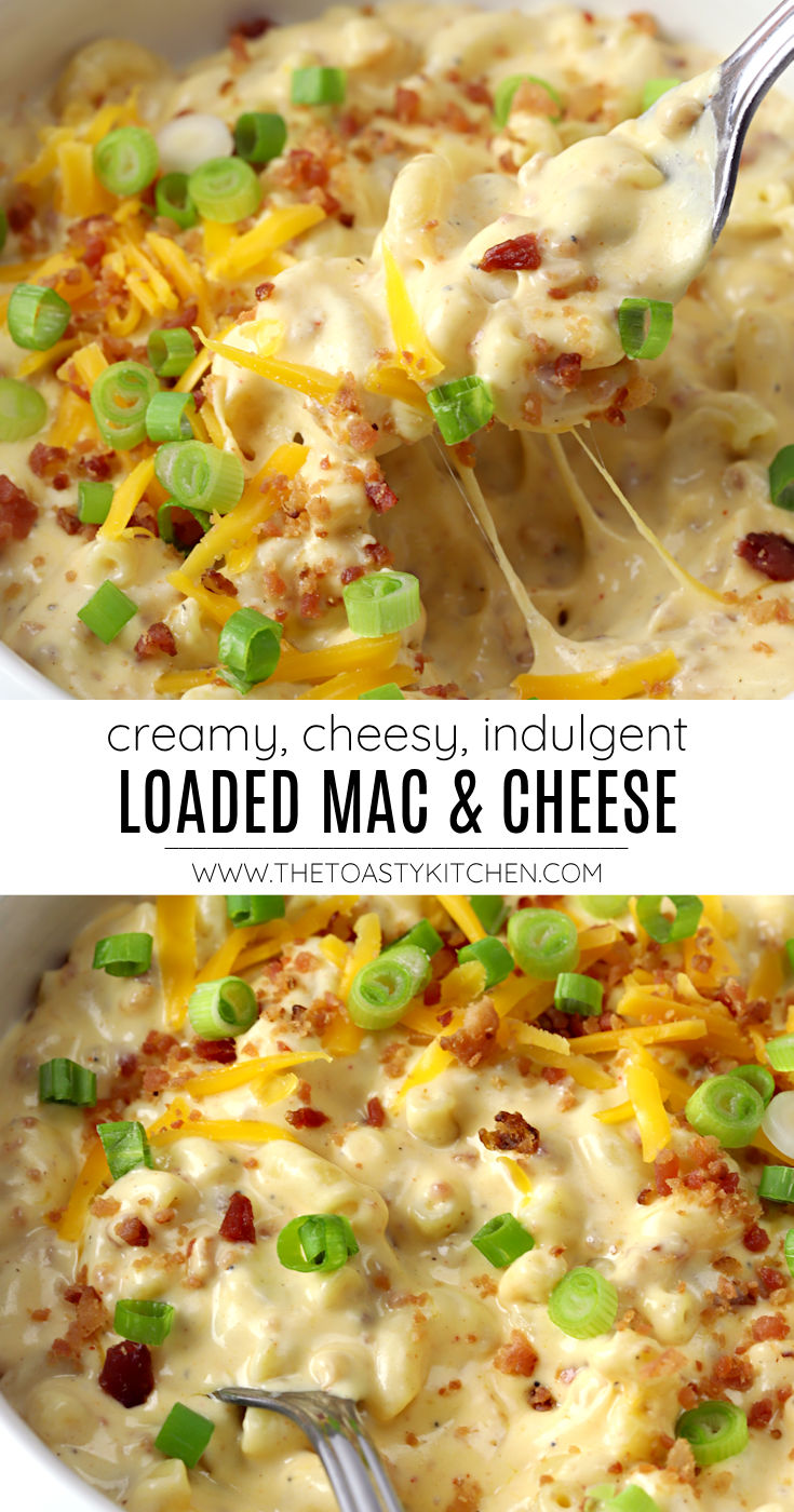 Loaded mac and cheese recipe.