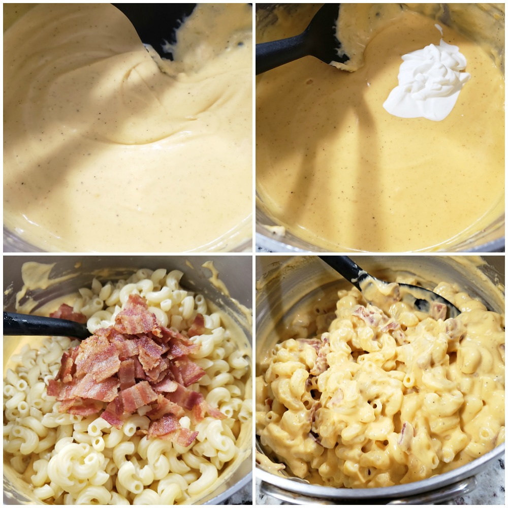 Adding sour cream, macaroni, and bacon to loaded mac and cheese sauce.