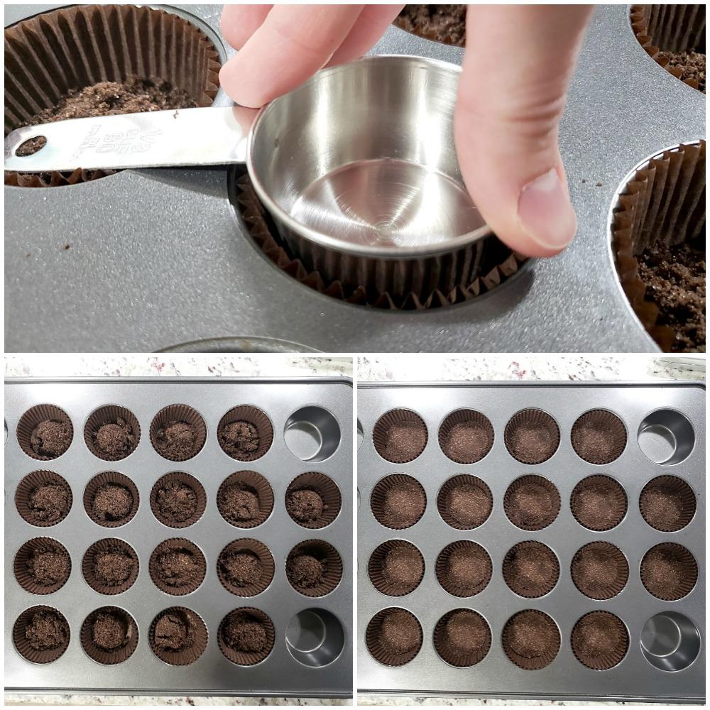 Pressing chocolate graham cracker crust into cupcake pan.