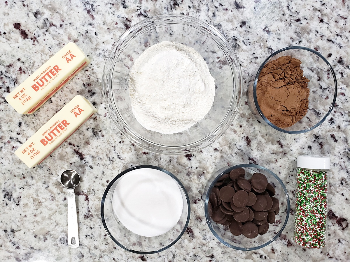Ingredients to make chocolate shortbread cookies.