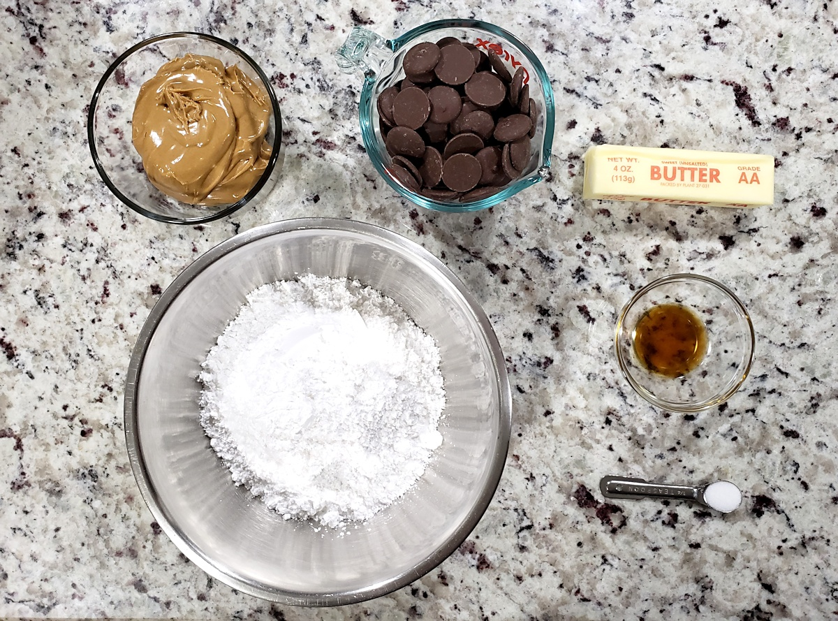 Ingredients to make peanut butter buckeyes.