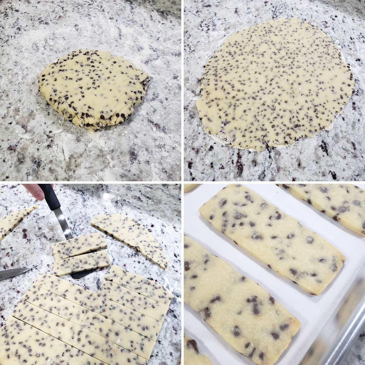 Rolling and slicing shortbread cookie dough.