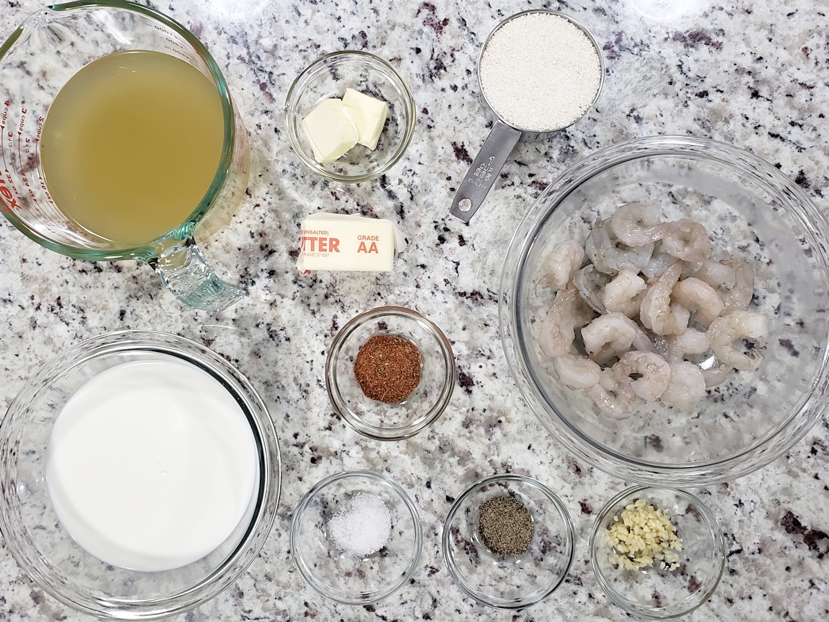 Ingredients laid out on a counter top.