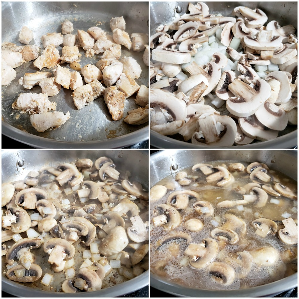 Adding chicken, mushrooms, and other ingredients to a saute pan.