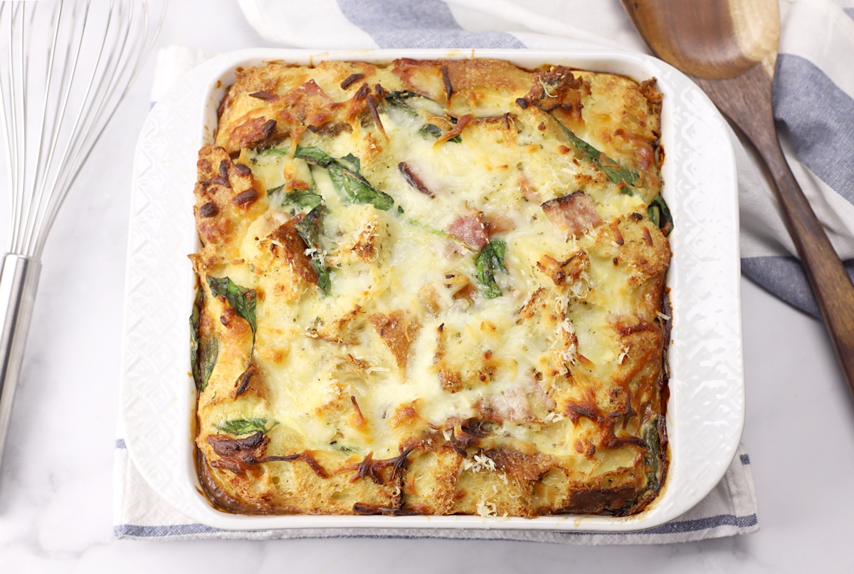 Spinach and ham in a breakfast casserole.