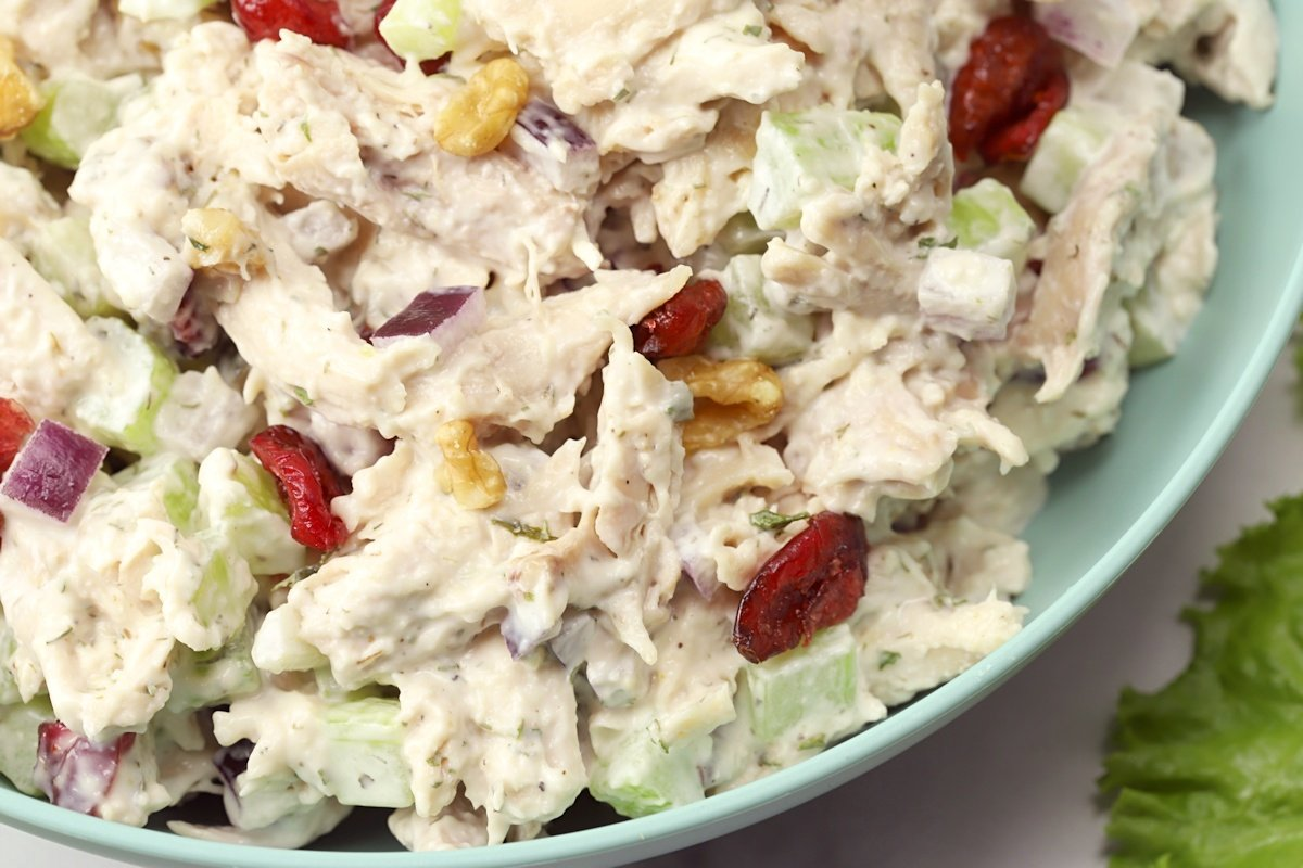 Cranberries and walnuts in chicken salad.