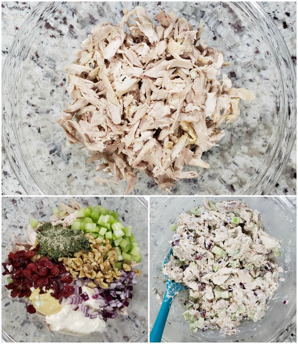 Mixing ingredients for rotisserie chicken salad.