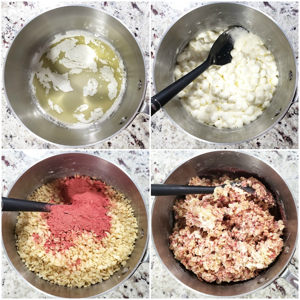 Mixing ingredients to make rice krispies treats.