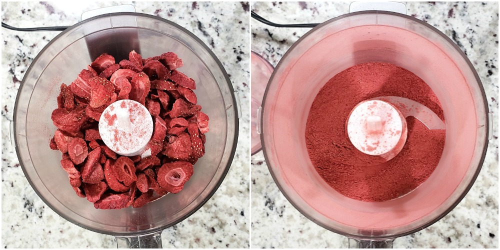 Blending freeze dried strawberries in a food processor.