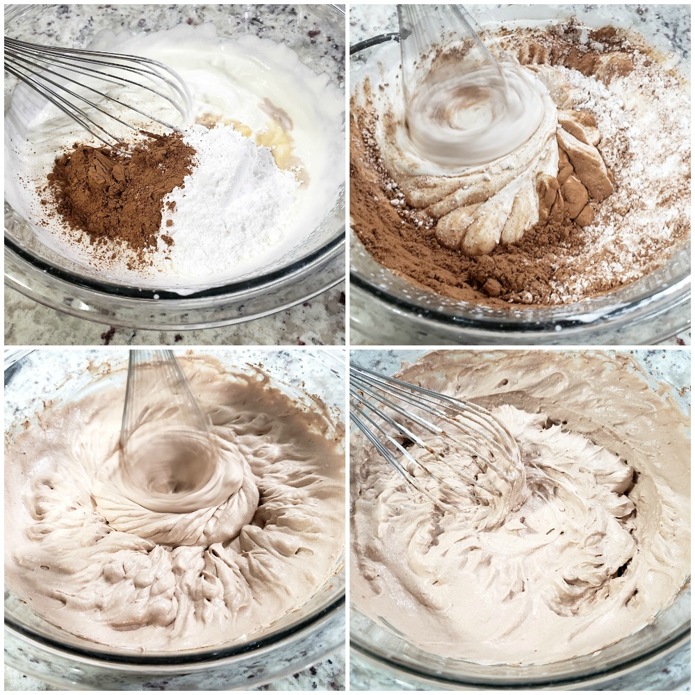 Whipping cocoa powder and sugar into whipped cream.