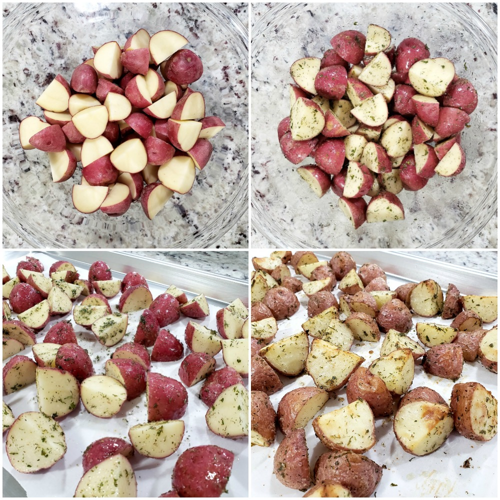 Tossing potatoes in oil and seasoning in a bowl, then roasting on a sheet pan.