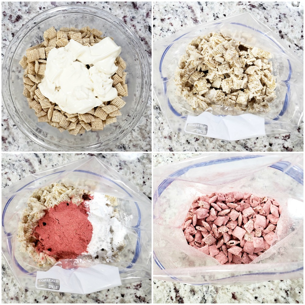 Mixing ingredients to make chex mix.