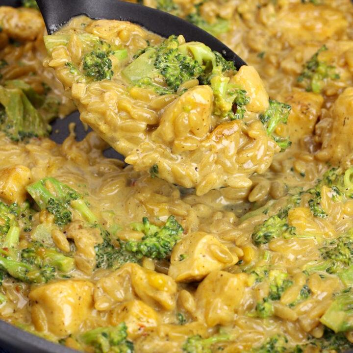 Cheesy chicken broccoli orzo skillet recipe.