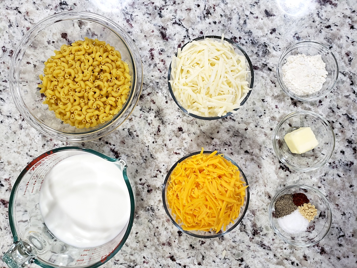 Ingredients to make mac and cheese.