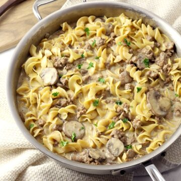 Saute pan filled with ground beef stroganoff.