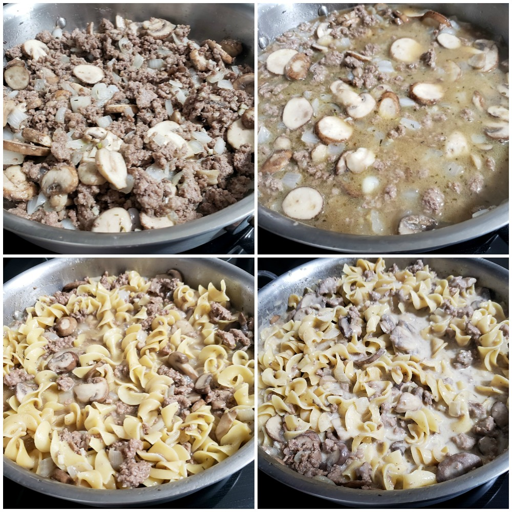 Cooking a skillet meal with egg noodles, mushrooms, and ground beef.