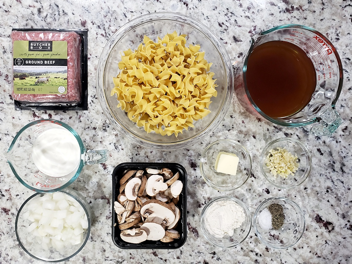 Ingredients to make beef stroganoff.