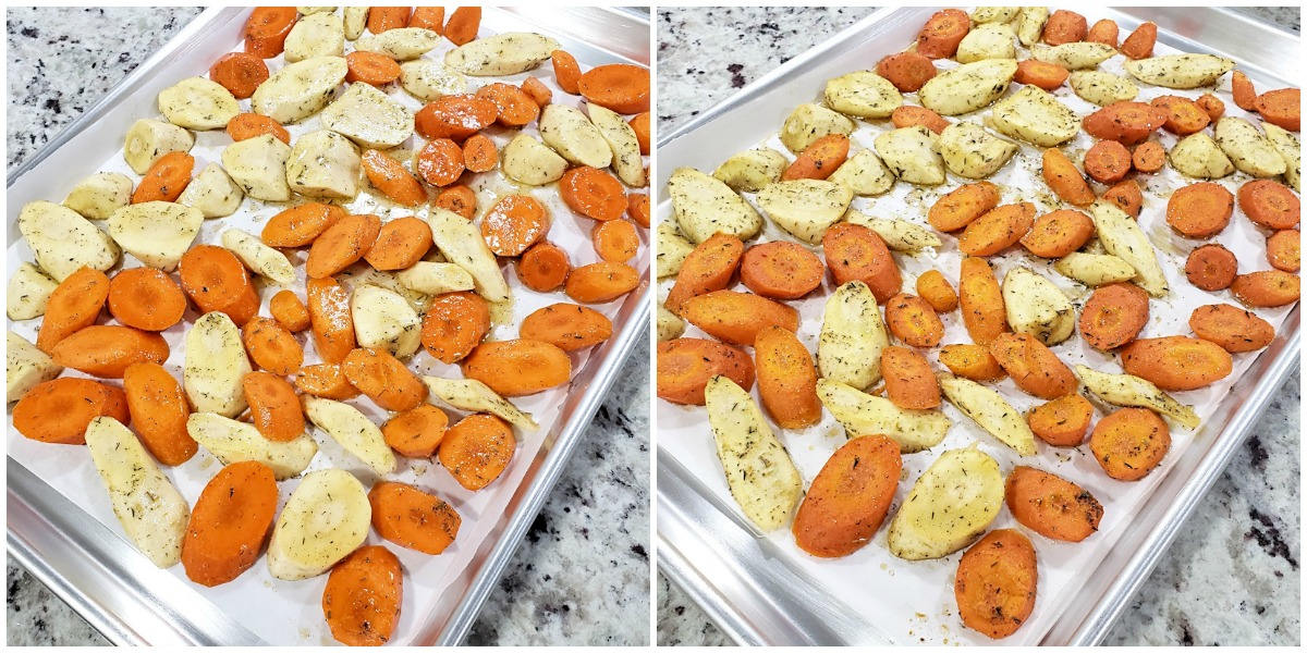 Roasting parsnips and carrots on a sheet pan.