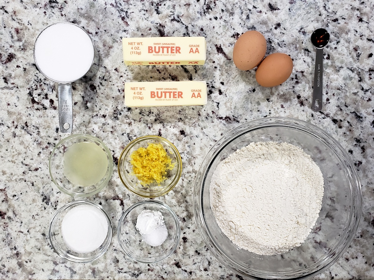 Ingredients to make sugar cookie bars.