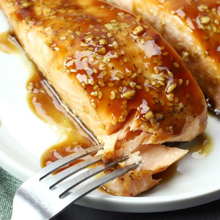Baked teriyaki salmon recipe.