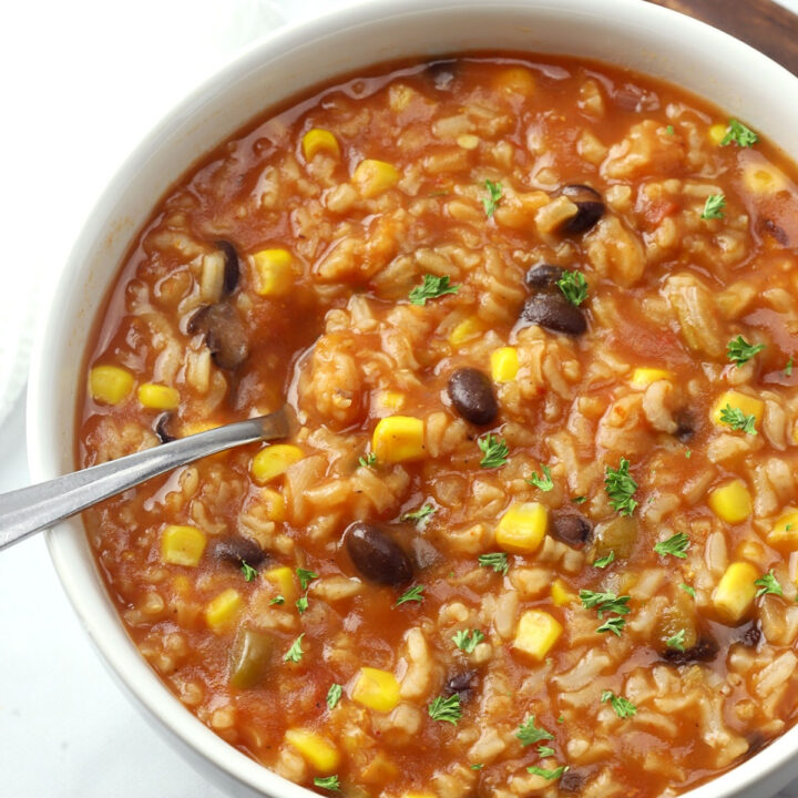 Beans and rice taco soup recipe.