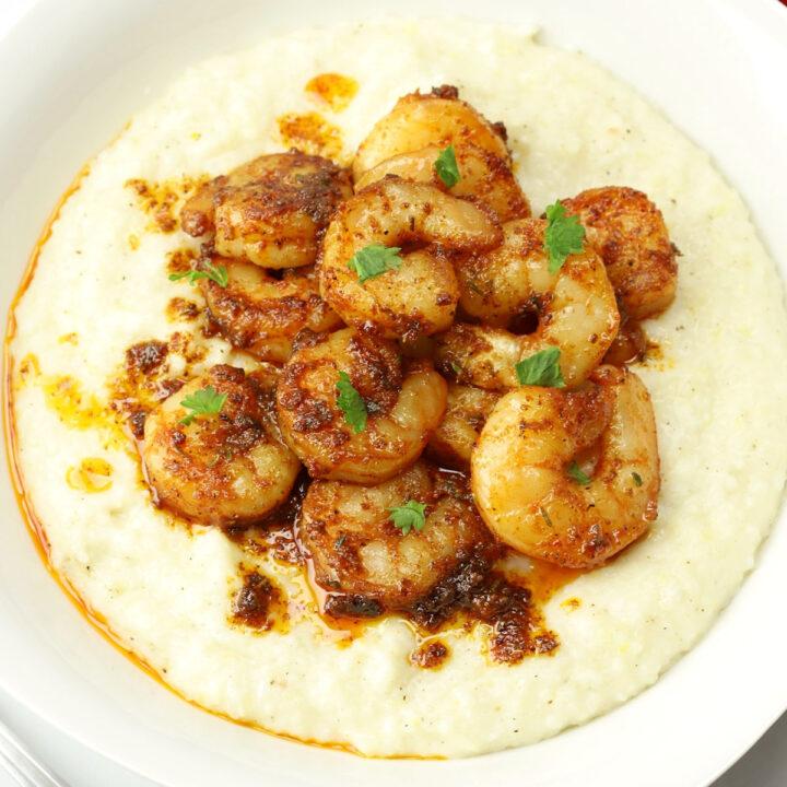 Cajun shrimp and grits recipe.
