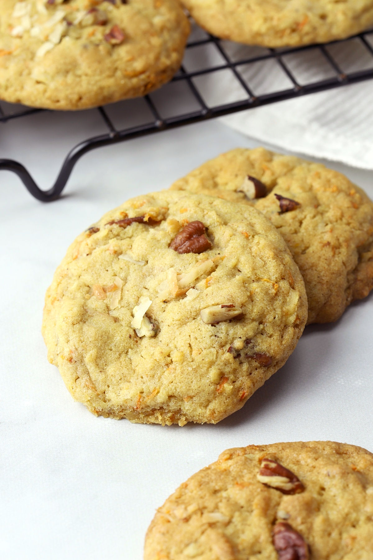 Cookie filled with pecans and shredded coconut.