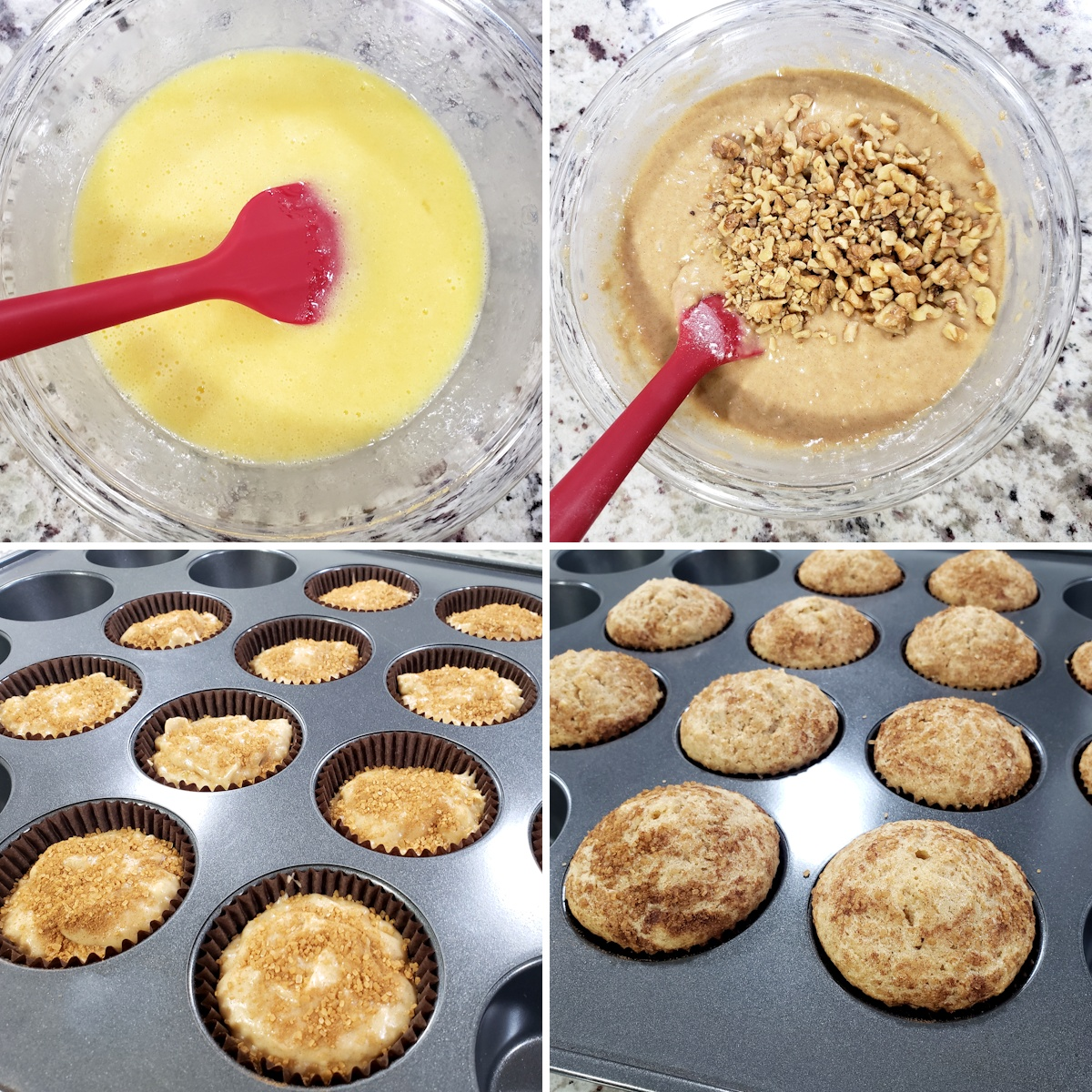 Mixing muffin batter and pouring into a baking pan.