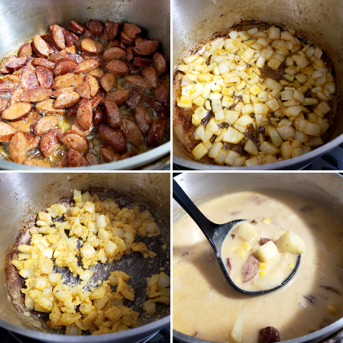 Browning sausage, onions, and adding the ingredients of soup to a stock pot.