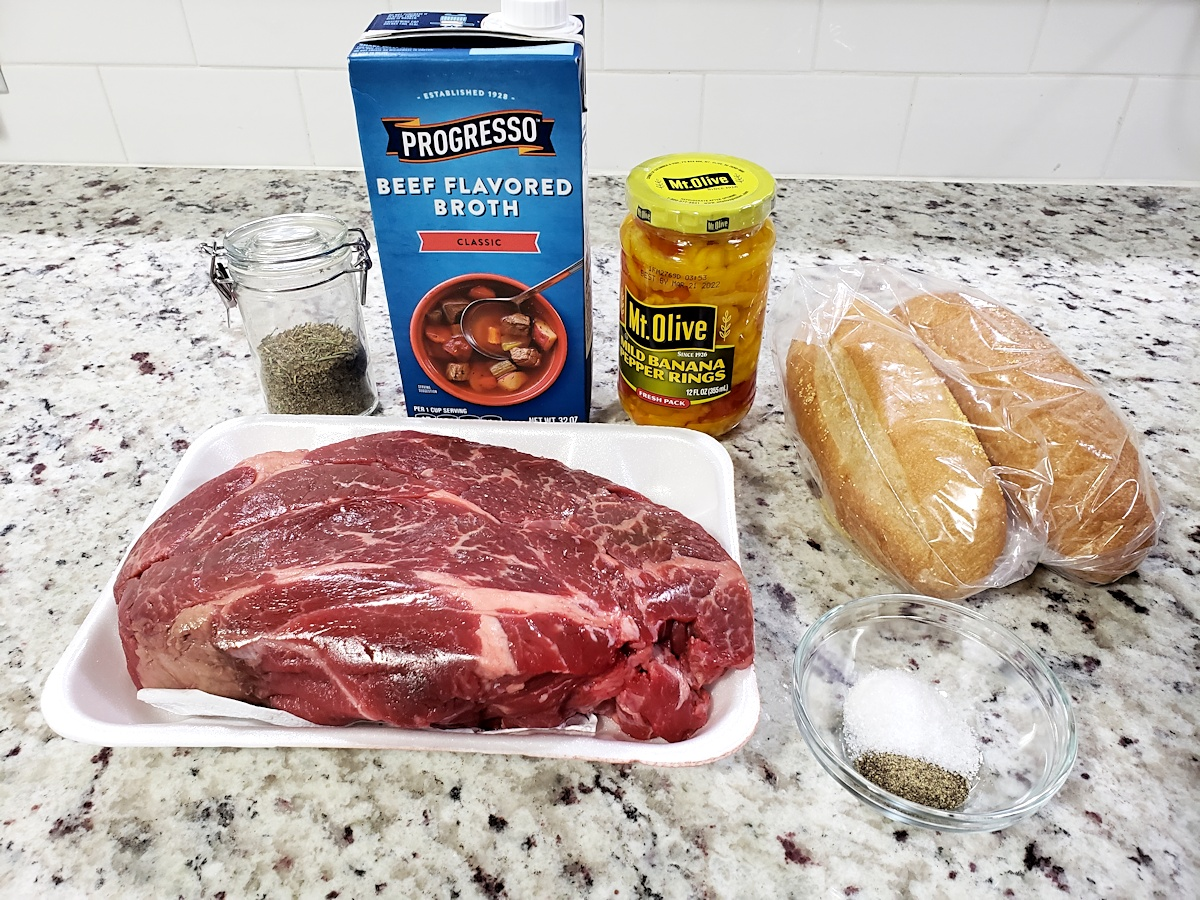 Ingredients for a beef roast.