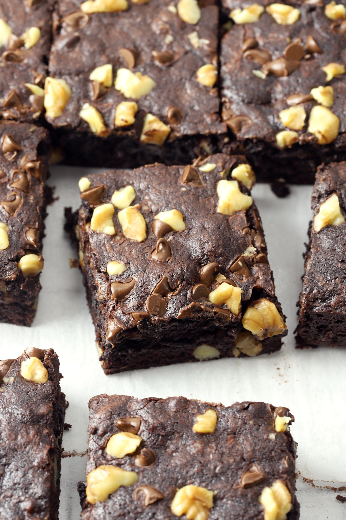 Brownies sliced into squares.