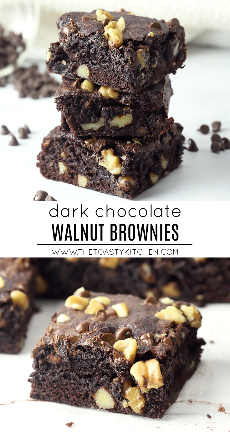 Dark Chocolate Walnut Brownies by The Toasty Kitchen