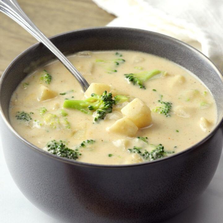 Hash brown potato broccoli soup.