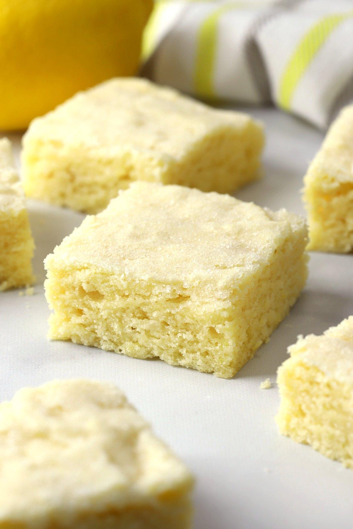 Lemon sugar cookie bars cut into squares.