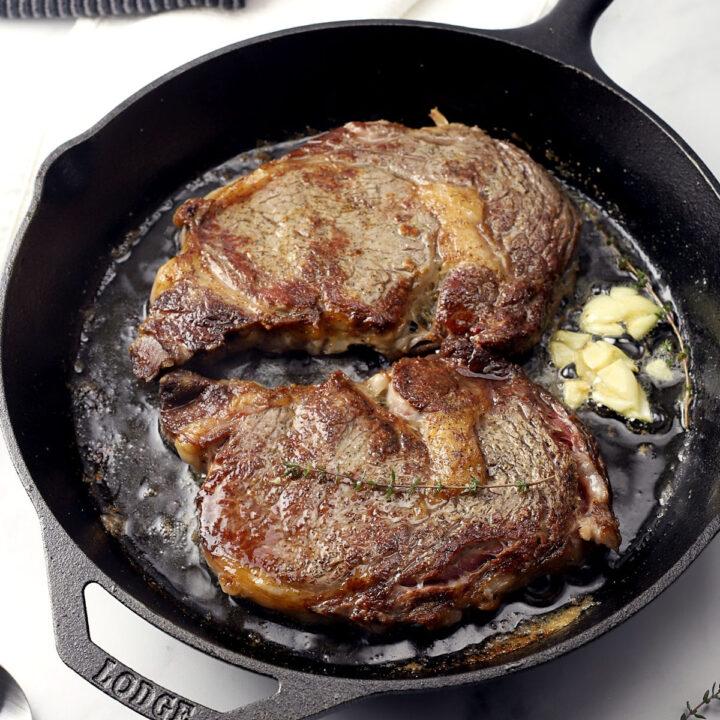 Pan seared ribeye with garlic butter recipe.