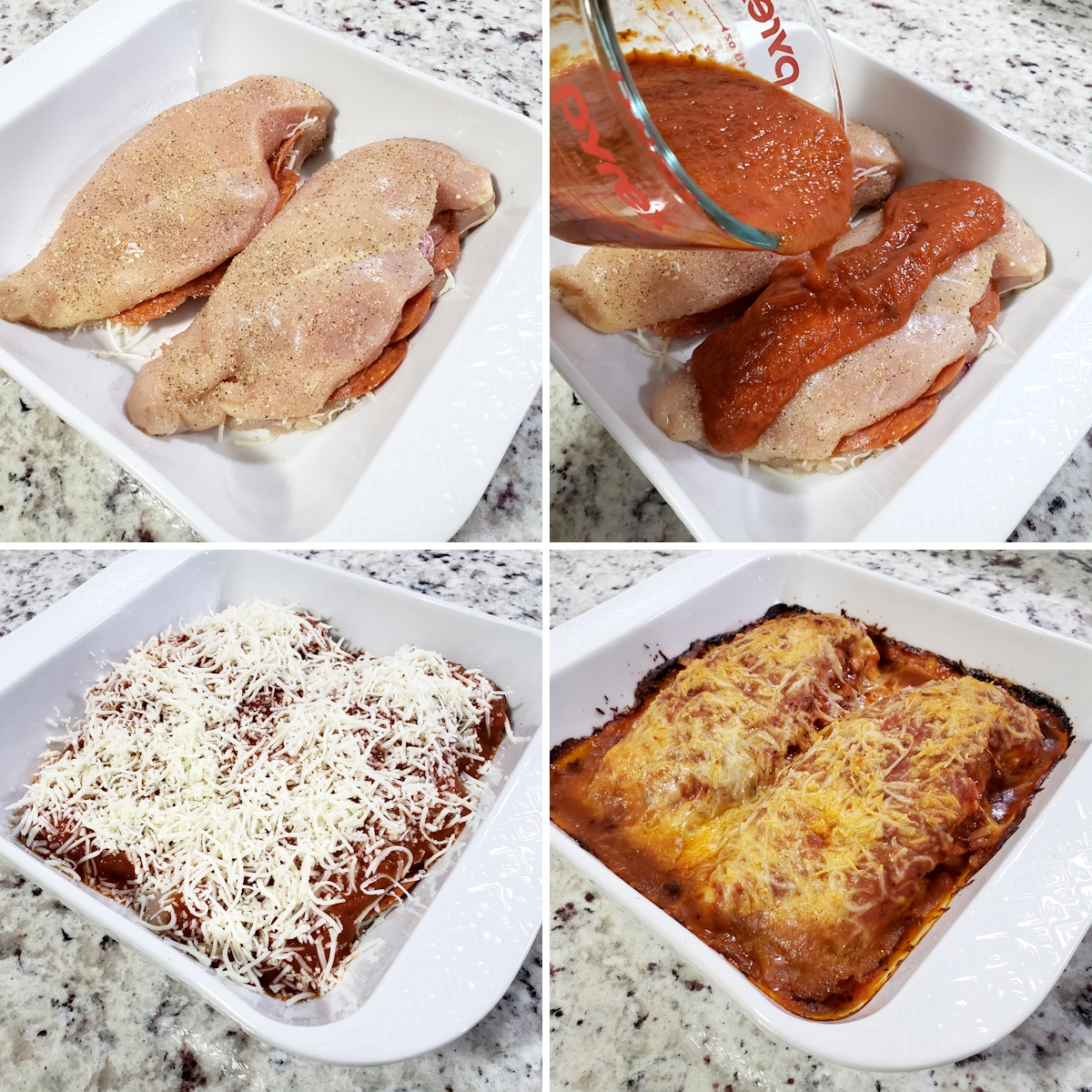 Baking dish with chicken breasts.
