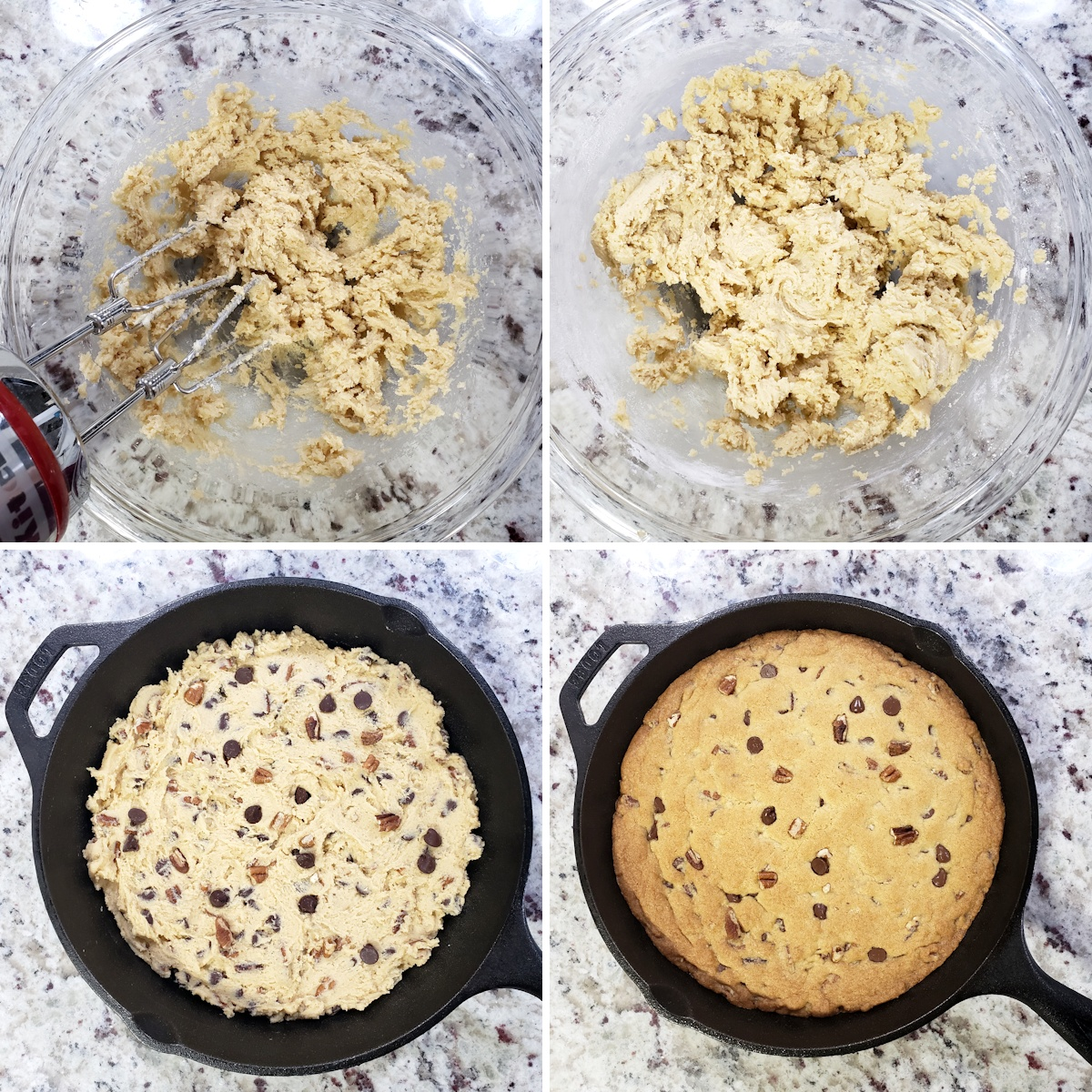 Mixing cookie dough and pressing into a cast iron skillet.
