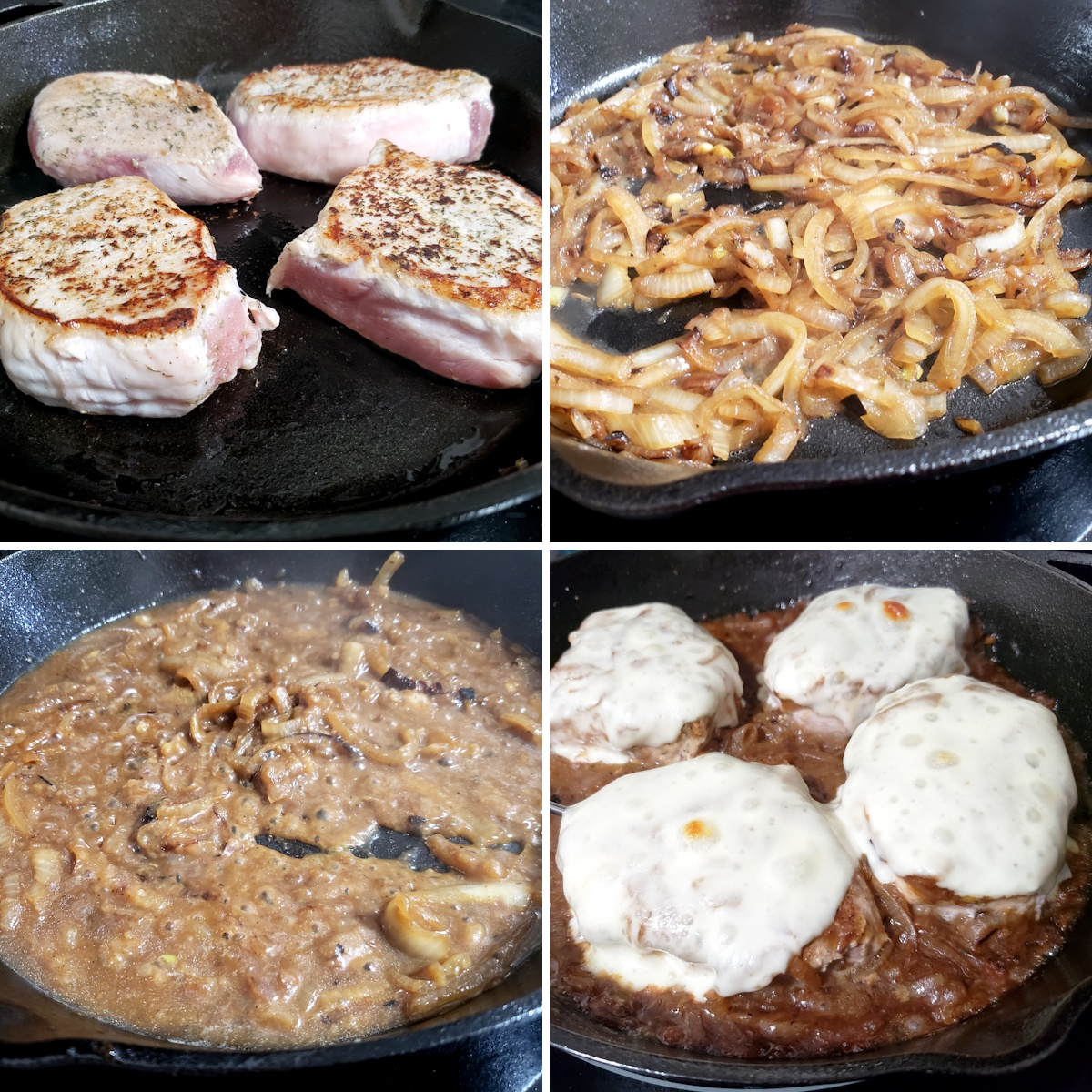 Pork chops and onions cooking in a cast iron pan.