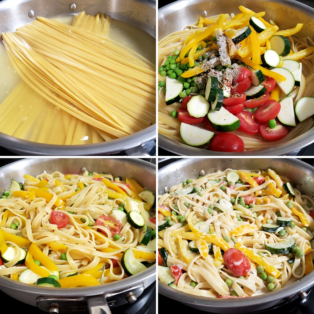 Fettuccine noodles and vegetables cooking in a saute pan.