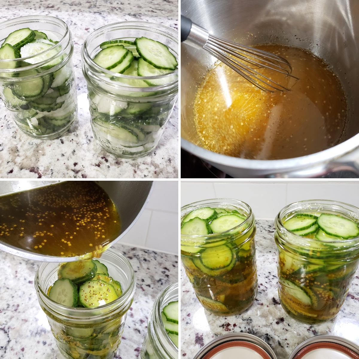 Adding pickles and liquid to mason jars.