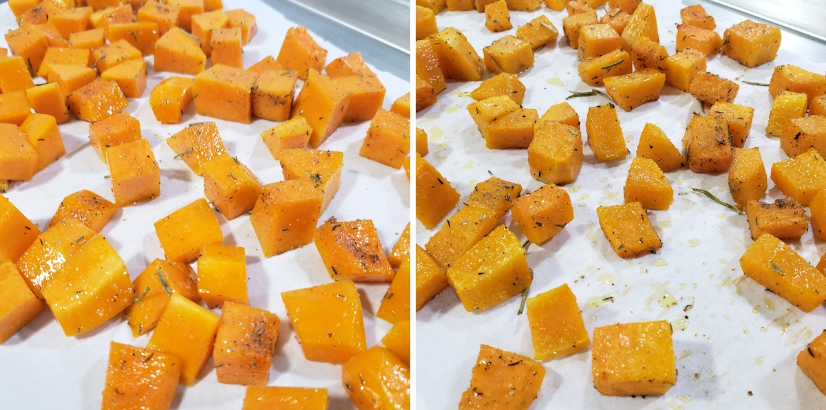 Cubed squash on a baking sheet.