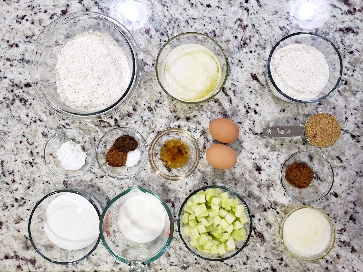Ingredients for muffins on a counter top.