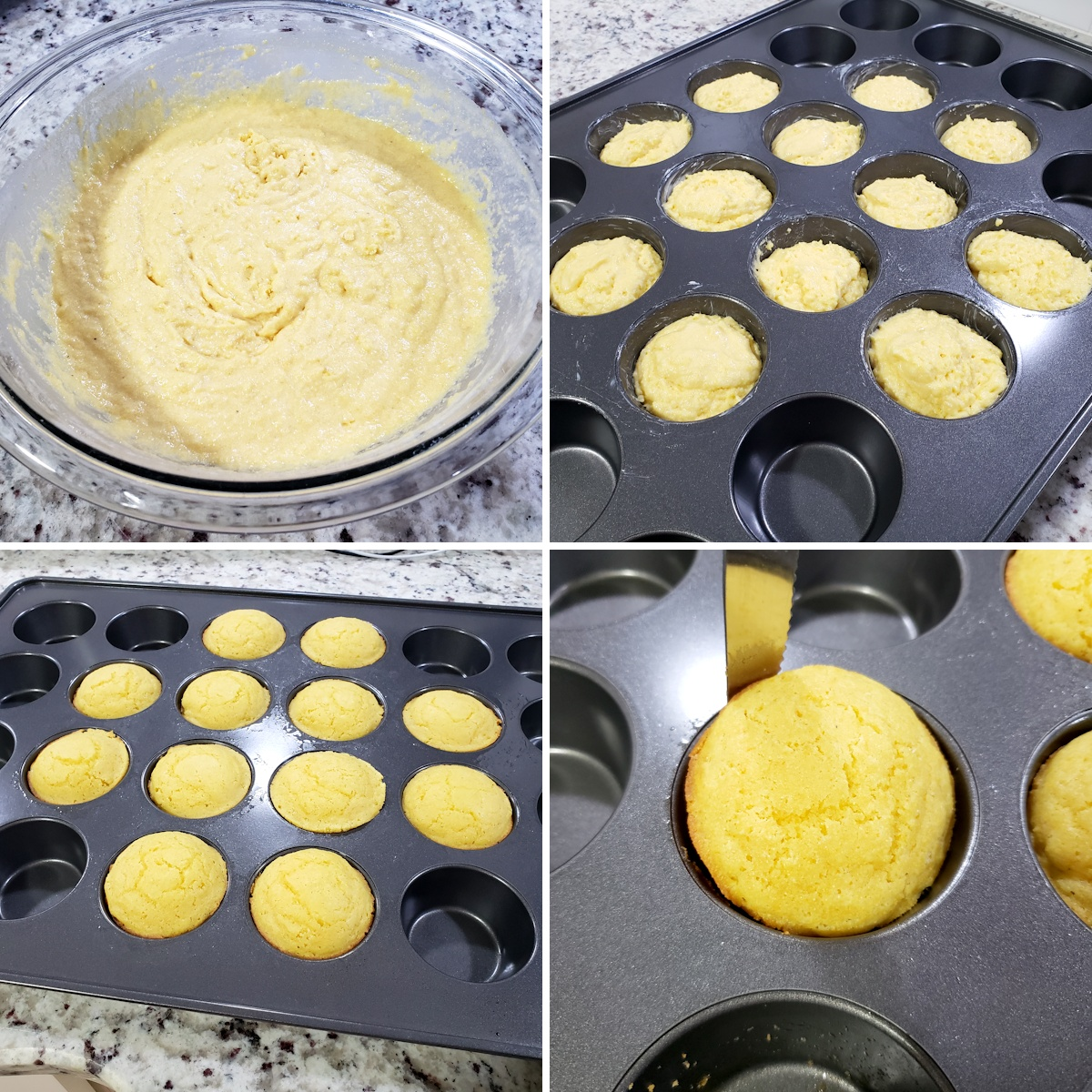 Mixing muffin batter and dividing into a muffin pan.