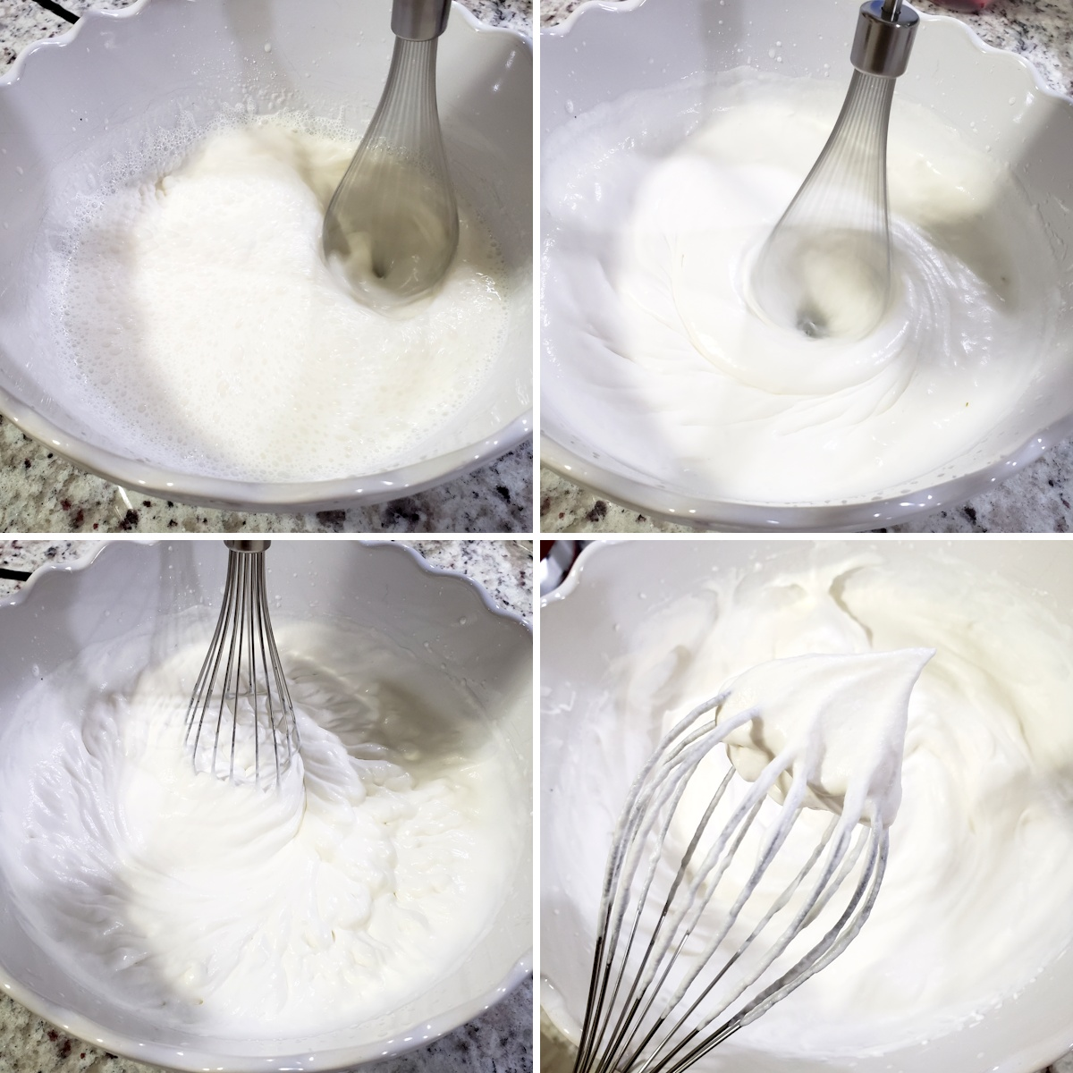 Whipping heavy cream with a hand mixer.