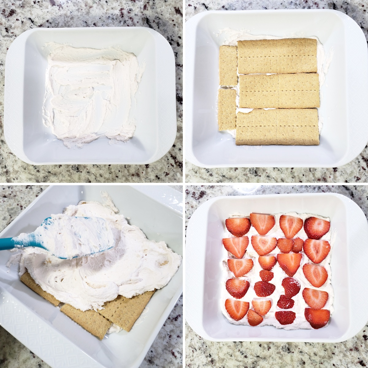 Adding the first layers of an icebox cake.