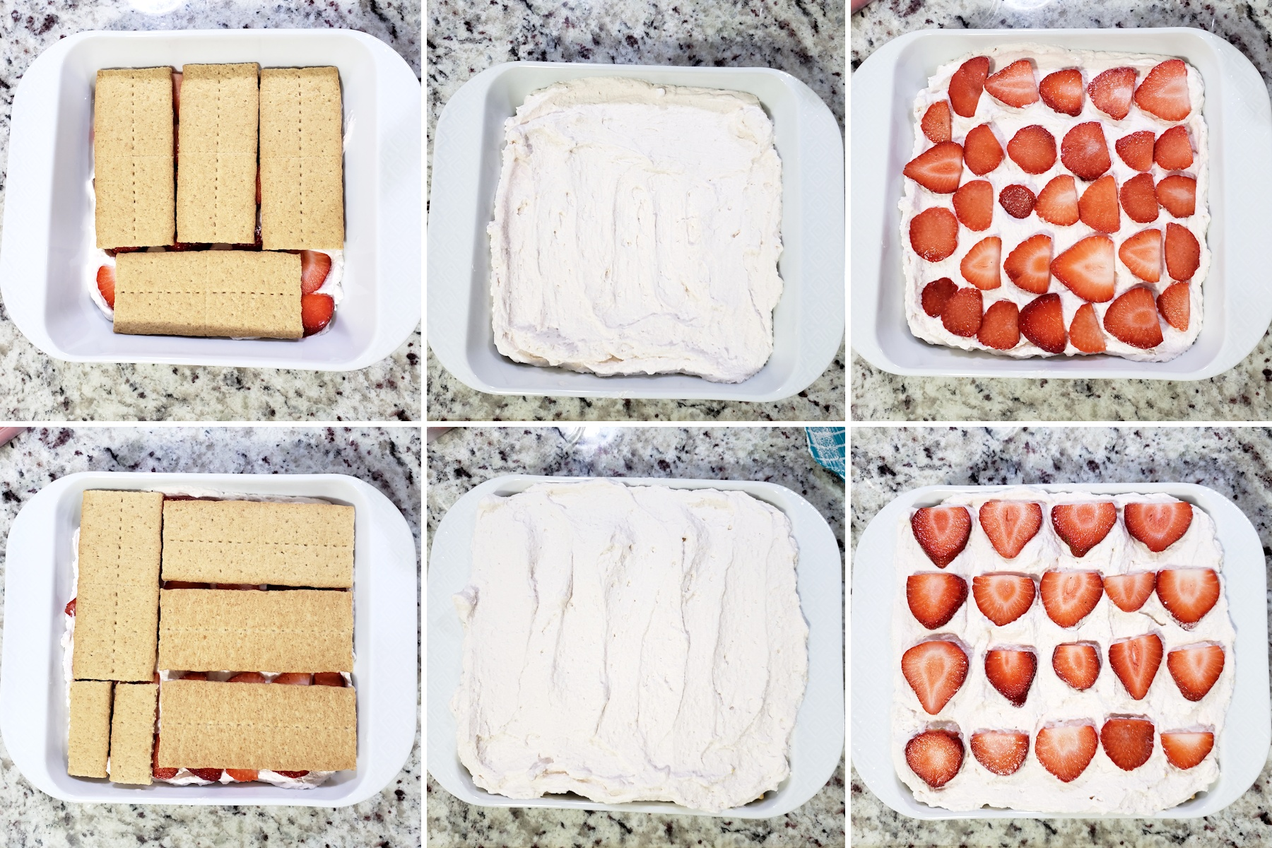 Assembling the layers of an icebox cake.