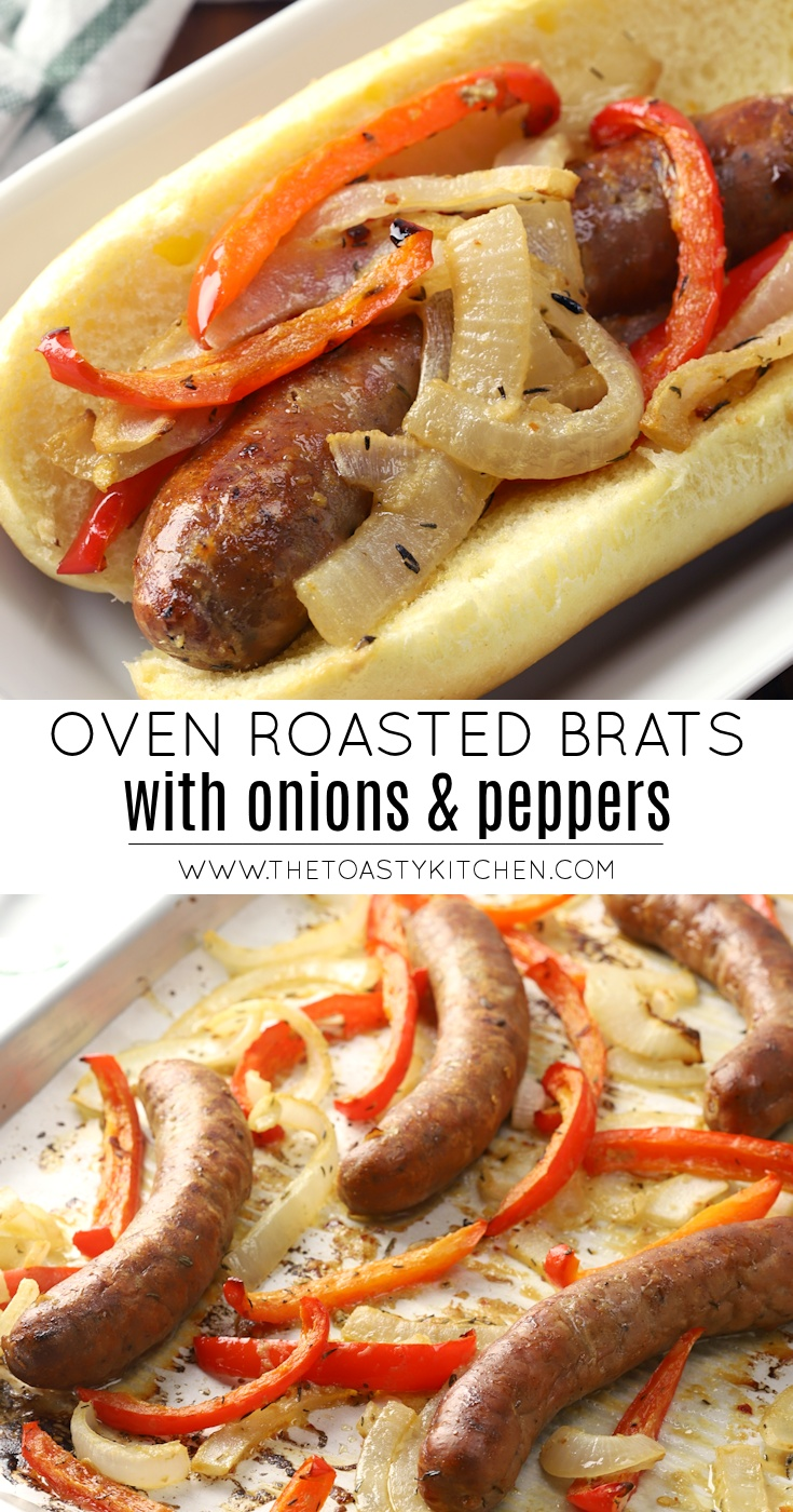 Oven Roasted Brats with Onions and Peppers by The Toasty Kitchen