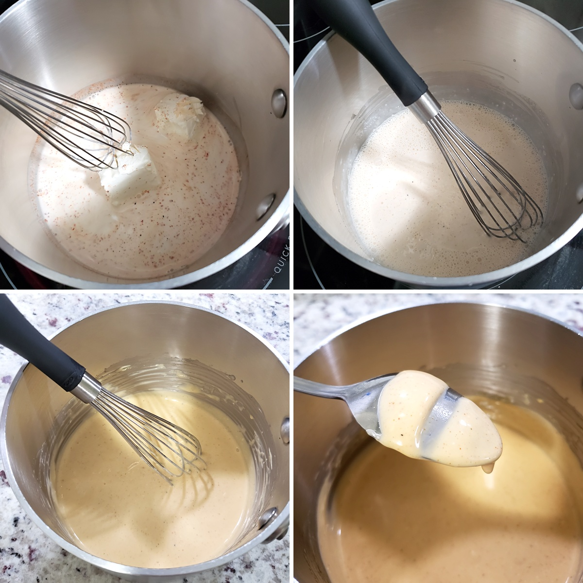 Whisking cheese sauce in a saucepan.