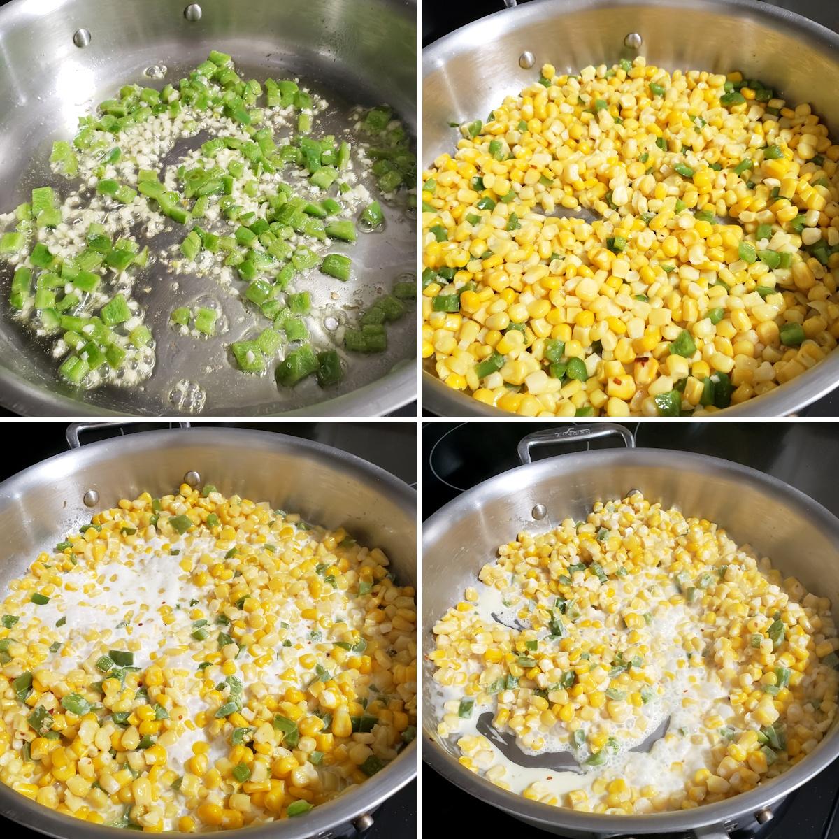 Cooking corn and jalapeños in a saute pan.